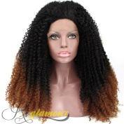 Riglamour Brown and Black Ombre Kinky Curly Wigs for Women Lace Front Synthetic Wig Half Hand Tied Heat Resistant 100% Fibre Hair 2 Tone