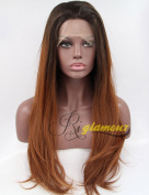 Riglamour Dark Roots Synthetic Lace Front Wigs Brown Ombre Long Wig Natural Straight Heat Resistant 100% Fibre Hair 2 Tones