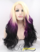 Riglamour Fashion Multi Coloured Wigs for Women Lace Front Wigs Synthetic Ombre Long Hair 3 Tone (Blonde Purple Black) Heat Resistant Cosplay Wig Body Wave