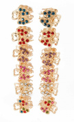 Yeshine Set of 12pcs Butterfly Design Golden Mini Claw Clip, with Rhinestone and Crystal Jaw Hair Clip