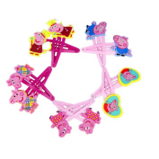 Peppa pig Hair Clips bows & hairpin / headwear, bob pins, hair jewellery, for baby & toddler & Children & girl(5 matching pairs)(set of 10)
