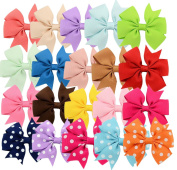 20pcs 7.6cm Hair Bows 15 Pure Colour+5 Polka Dot- Alligator Clip Grosgrain Ribbon Headbands for Baby,Girls and Young Women