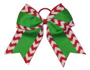 "New ""CHRISTMAS CHEVRON Grosgrain"" Cheer Bow Pony Tail 7.6cm Ribbon Girls Cheerleading Dance Practise Football Games Uniform Holiday"