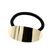 Ponytail Holder Elastic with Polished Gold Finish Oval Metal Piece