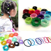 Pusheng 100 Pcs Baby Kids Girl Elastic Ponytail Holder Rope Hair Ties Head Bands