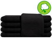 Black Salon Towel 100% Cotton 41cm x 70cm . Hand Towel - 1 DOZEN