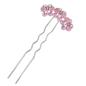Three Butterflies Pink Rhinestone 2-Prong Hair Stick Fork