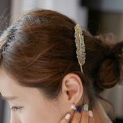 EachWell Ancient Bronze Feather Wedding Bride Lady Hairstyle Clip Hairpin Headwear Edge Accessory Decoration 10cm