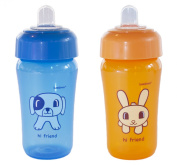 Bambinos Animal Pals 2 Piece Sippy Cup, Blue/Orange, 410ml