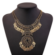 Mosunx Women Fashion Bohemian Festival Jewellery Double Chain Coin Statement Necklace