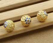 Luoyi 1pc Filigree Golden Plated Sterling Silver Enamel Beads, Hollow Flower Cloisonne Spacer Bead, Round, 12*12mm, Hole