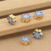 Luoyi 2pcs Golden Plated Sterling Silver Enamel Flat Beads, Plum Blossom Flower Cloisonne Spacer Beads, 8*4mm, Hole
