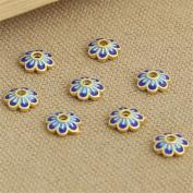 Luoyi 3pcs Golden Plated Sterling Silver Enamel Bead Caps, Cloisonne Flower Caps, 7-petal, 10mm, Hole