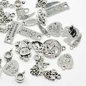 PEPPERLONELY 100 Gramme (Apprx 70PC) Antiqued Silver Assorted Charms Pendeants Connetors Bails Jewellery Findings