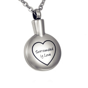 "ZARABE Cremation Jewellery Love Heart with ""Surrounded lg Love"" Round Memorial Urn Necklace Keepsake Ash Holder"