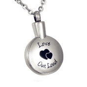 """ZARABE Cremation Jewellery Double Heart with """"Love Out Loud"""" Round Memorial Urn Necklace Keepsake Ash Holder"""