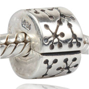 Choruslove Authentic 925 Sterling Silver Flower Pattern Clip Charm Bead for European Style Bracelet