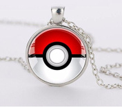 POKEMON BALL Inspired Bezel Pendant Necklace Silver Plated AMZN3