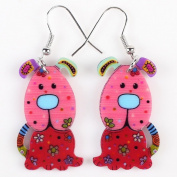 Cute Bonsny Dog Acrylic Earrings-1 Pair Red