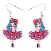 Cute Bonsny Angel Girls Acrylic Earrings-1 Pair Red
