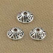 Luoyi Tibetan Style Hollow Cloud Bead Caps, Half Round, 9mm, Hole