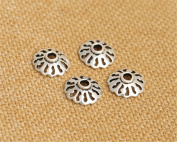 Luoyi Thai Silver Bead Flower Caps, 10mm, Hole