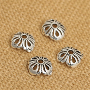 Luoyi Thai Silver Bead Flower Caps, Hollow Clover, 9mm, Hole