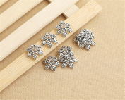 Luoyi Thai Silver Bead Flower Caps, Snowflake, 20mm, Hole
