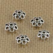 Luoyi Tibetan Style Hollow Flower Bead Caps, Plum Blossom, 5mm