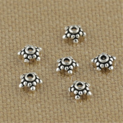 Luoyi Thai Silver Bead Flower Caps, 5-petal, Wide