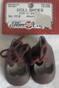 Fibre Craft PAIR of DOLL SHOES For 33cm Dolls BROWN Colour w BROWN LACE at Top Ankle