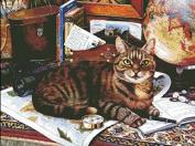 Writing Cat Cross Stitch Kit,14ct 370x277stitch 77x60cm Counted Cross Stitch Kits