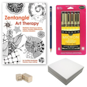 Zentangle Drawing Starter Kit, Advanced - (Bundle of 5 Items) - Zentangle Art Therapy Instructional Guide, Sakura 6-Piece Pigma Micron Black Ink Pen Set, Pencil, Eraser and 60 Artist Tiles