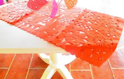 Mexican Wedding Decoration, ORANGE Table Runner, Papel Picado, Fiesta Party, Mexican Style Ceremony, Tissue Paper, Hand-crafted, Birthday Party Kids