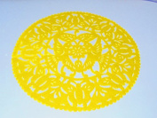 Yellow Wedding Decoration, yellow Centrepiece Doily, Paper Doily, Mexican Papel Picado, Fiesta Party, Mexican Style Ceremony, Tissue Paper, Hand-crafted, Birthday Party Kids