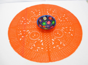 Orange Wedding Decoration, orange Centrepiece Doily, Paper Doily, Mexican Papel Picado, Fiesta Party, Mexican Style Ceremony, Tissue Paper, Hand-crafted, Birthday Party Kids