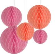 AllHeartDesires Pack of 6 Mixed Peach Pink Decorative Paper Flower Honeycomb Ball Birthday Outdoor Wedding Party Hanging Decoration