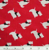 1 Yard - Scottie Tossed on Red Flannel Fabric (Great for Quilting, Sewing, Craft Projects, Blankets, Throw Pillows & More) 1 Yard x 110cm