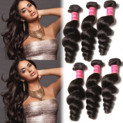 Nadula Brazilian 6a Unprocessed Loose Wave Remy Virgin Human Hair Weave Pack of 3 Hair Extensions Natural Colour