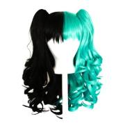 Umeko - Half Natural Black and Half Seafoam Green Split Wig 50cm Gothic Lolita Set