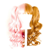 Umeko - Half Cotton Candy Pink and Hazelnut Brown Split Wig 50cm Gothic Lolita Set