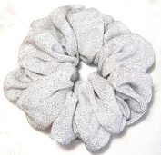 White and Silver Stretch Ponytail Holder-Jumbo