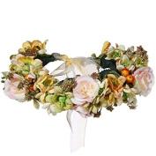 Valdler Vintage Aesthete Nature Flower Berries Crown Headband Halo with Adjustable Ribbon for Wedding Festivals Orange