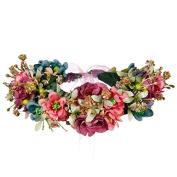 Valdler Vintage Aesthete Nature Flower Berries Crown Headband Halo with Adjustable Ribbon for Wedding Festivals Blue
