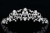 Bridesmaid Flower Girl Bridal Tiara Comb - Faux Pearls Silver Plated T621