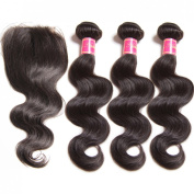Nadula 7A Unprocessed Brazilian Remy Virgin Human Hair Body Wave Weave Pack of 3 with Lace Closure Natural Colour