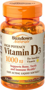 Sundown Naturals High Potency Vitamin D3, 1000 IU, 100 Softgels