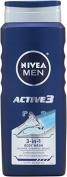 Nivea For Men Active3 Body Wash for Body, Hair & Shave, Save Big, 500ml Bottles