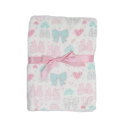 Baby Gear Plush Velboa Ultra Soft Baby Girls Blanket 30 x 40, Coral Hearts & Bows