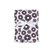 Baby Gear Plush Velboa Ultra Soft Baby Girls Blanket 30 x 40, Black Flower Petals